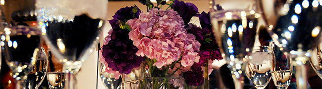 purple flower center piece for an arizona wedding