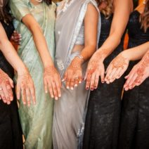 Bride and Bridesmaids and their henna designs Multicultural wedding Arizona