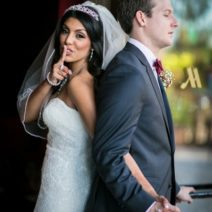 No peeking Christian ceremony Arizona Multiracial couple wedding