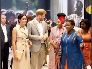 Prince Harry and Mhegan after their royal wedding at the Nelson Mandela's 100th Birthday Commemoration