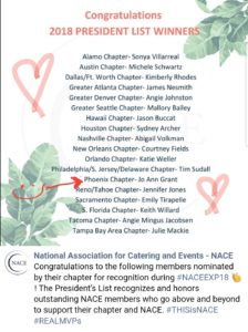 NACE President's List Award for 2018- Jo Ann M. Grant of Apropos Creations