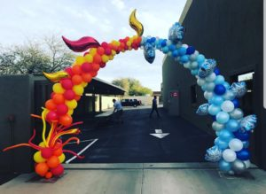 The Balloon People Fire and Ice Baloon Arch