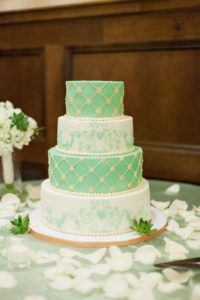 Mint and white colored cake