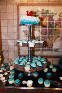 Rosette turquoise cupcakes