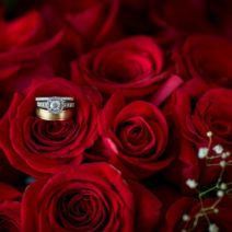 Arizona Wedding Ring and Red Roses Bridal Bouquet