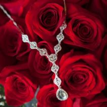 Bridal Jewelry Necklace on Red Roses Bridal Bouquet