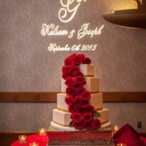 Bridal Wedding Cake with Red roses cascading